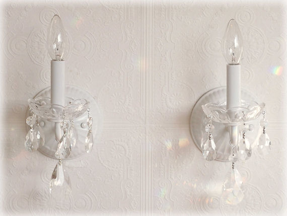 White Crystal Wall Sconces : Pair White Crystal Wall Sconces - The Frog and the Princess