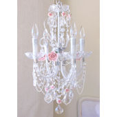 Crystal Chandelier with Pink Porcelain Roses