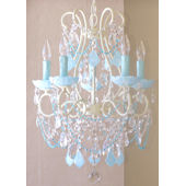 5 Arm Chandelier with Opal Aqua Blue Crystals