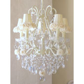 5 Arm Chandelier with Cream Rose Shade