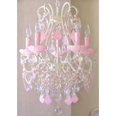 5 Arm Chandelier with Opal Pink Crystals