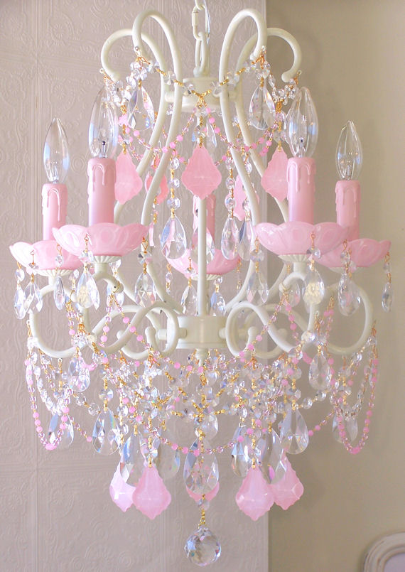 5 Arm Chandelier With Opal Pink Crystals The Frog And