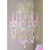 5 Arm Diva Chandelier with Pink and Green Crystals