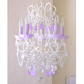 5 Arm Beaded Chandelier with Milky Opal Lavender