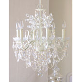 6 Arm Leafy Ivory Crystal Chandelier
