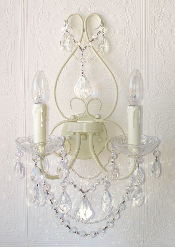 Wall Sconces With Crystal : Antique White Crystal Wall Sconce - The Frog and the Princess