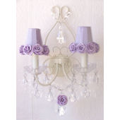 Double Light Wall Sconce with Lavender  Rose Shade