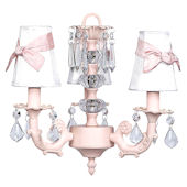 3 Arm Pink Stack Glass Ball Chandelier White Shade
