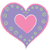 Wall Pops Heart of Hearts Purple Set of  4 Shapes