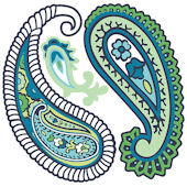 Wall Pops Paisley Please Blue Set of  4 Shapes