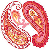 Wall Pops Paisley Please Red Set of  4 Shapes