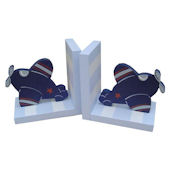 Wish Upon A Star Blue White And Navy Plane Bookend