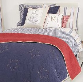 Navy Gingham Twin Duvet Cover