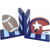 Wish Upon A Star Football Light Blue Bookends