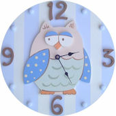 Wish Upon A Star Blue Owl  Wall Clock