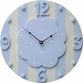 Wish Upon A Star Blue and White Stripe  Wall Clock