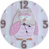 Wish Upon A Star Pink Owl Wall Clock