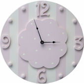 Wish Upon A Star Piink and White Stripe Wall Clock