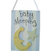 Wish Upon A Star Blue Star and Moon Door Hanger