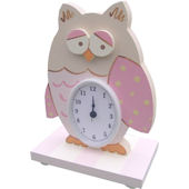 Wish Upon A Star Pink Owl Table Clock