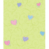 Colorful Hearts Green Pre Pasted Wall Paper