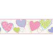 Love U Lots Hearts Pastel Wall Paper Border