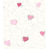 Colorful Hearts Pink Pre Pasted Wall Paper