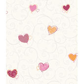 Colorful Hearts Red Orange Pre Pasted Wall Paper