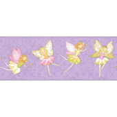 Fairy Garden Purple Wall Paper Border