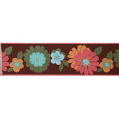 Floral Brown Wall Paper Border